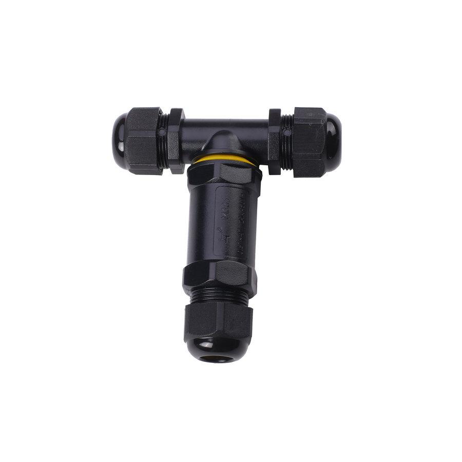 Vandtæt samledåse 3-polet – 0,5-1mm² - Udendørs IP68 – T-stik