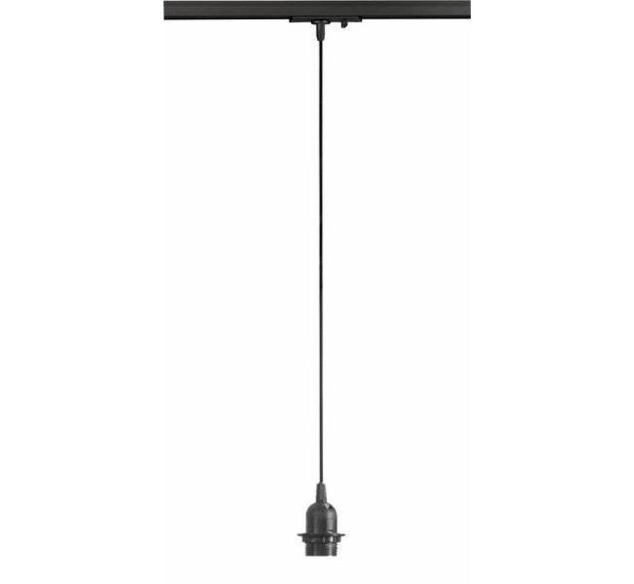 LED 3 faset skinnespot 1 meter pendel i sort - E27 fatning