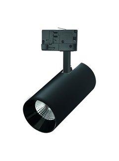 LED 3 faset skinnespot i sort - 25W 104lm p/w - 3000K