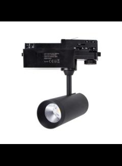 LED skinnespot 3F i mat sort - 10W High Lumen - 4000K