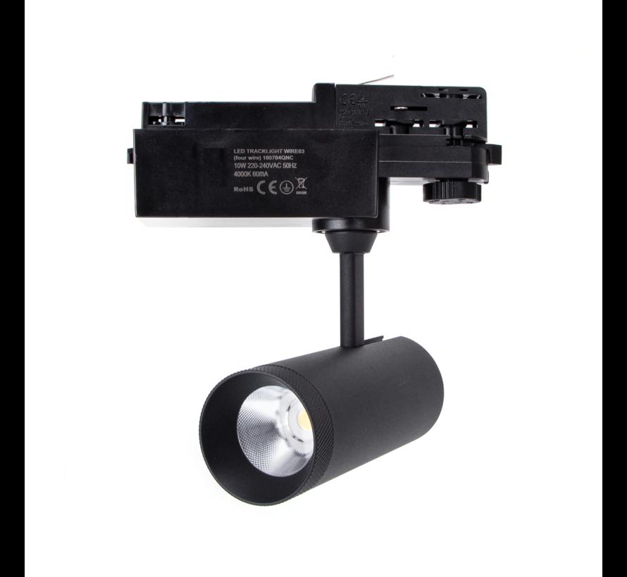 LED skinnespot 3F i mat sort - 10W High Lumen - 4000K Naturlig hvid