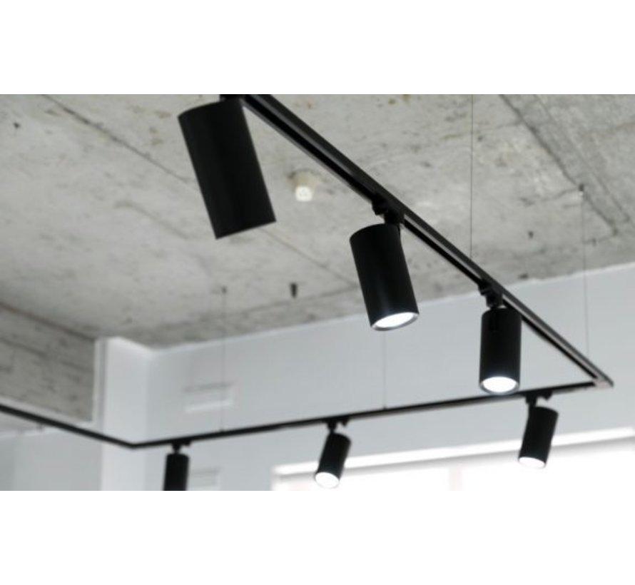 LED 3 faset skinnespot i sort - 15W 100lm p/w - 3000K Varm hvid