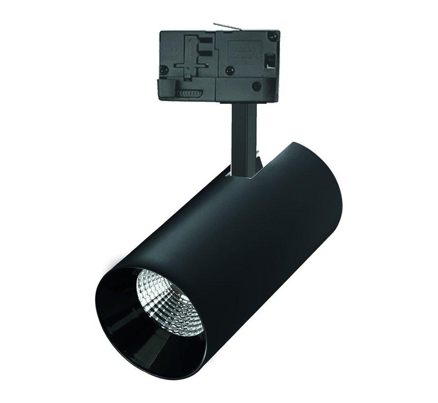 LED 3 faset skinnespot i sort - 25W 104lm p/w - 4000K Naturlig hvid