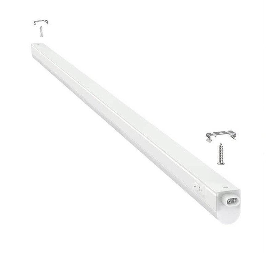 T5 LED armatur 120 cm - 14W erstatter 140W - 6500K Kold Hvid - Komplet med 1.5 strømkanel og en tænd-/slukknap