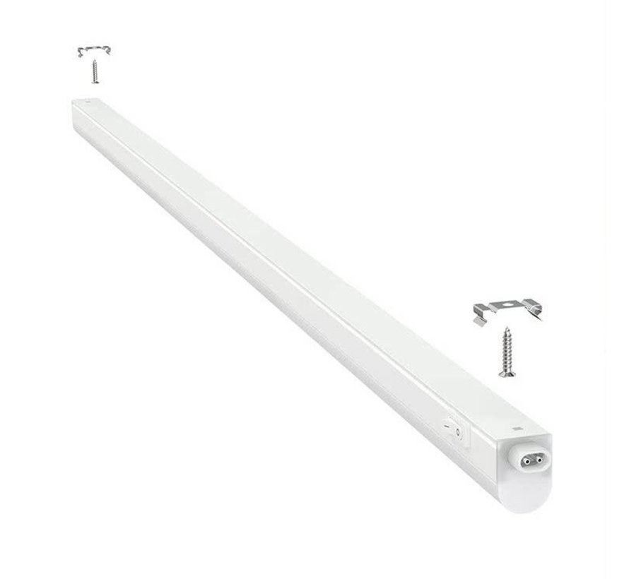 T5 LED armatur 120 cm - 14W erstatter 140W - 3000K Varm Hvid - Komplet med 1.5 strømkanel og en tænd-/slukknap