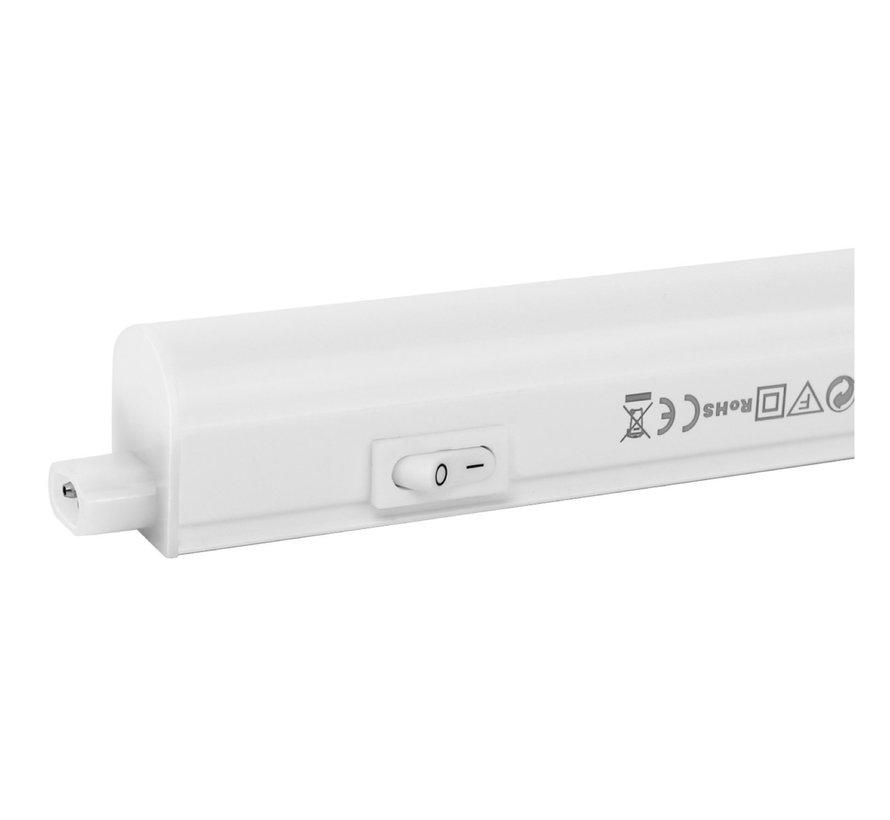T5 LED armatur 30 cm - 4W erstatter 40W - 4000K Naturlig Hvid - Komplet med 1.5 strømkanel og en tænd-/slukknap