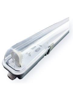 Vandtæt 120cm 18W LED armatur IP65 + 1 LED lysstofrør 3000K - Varmt Hvid - Komplet