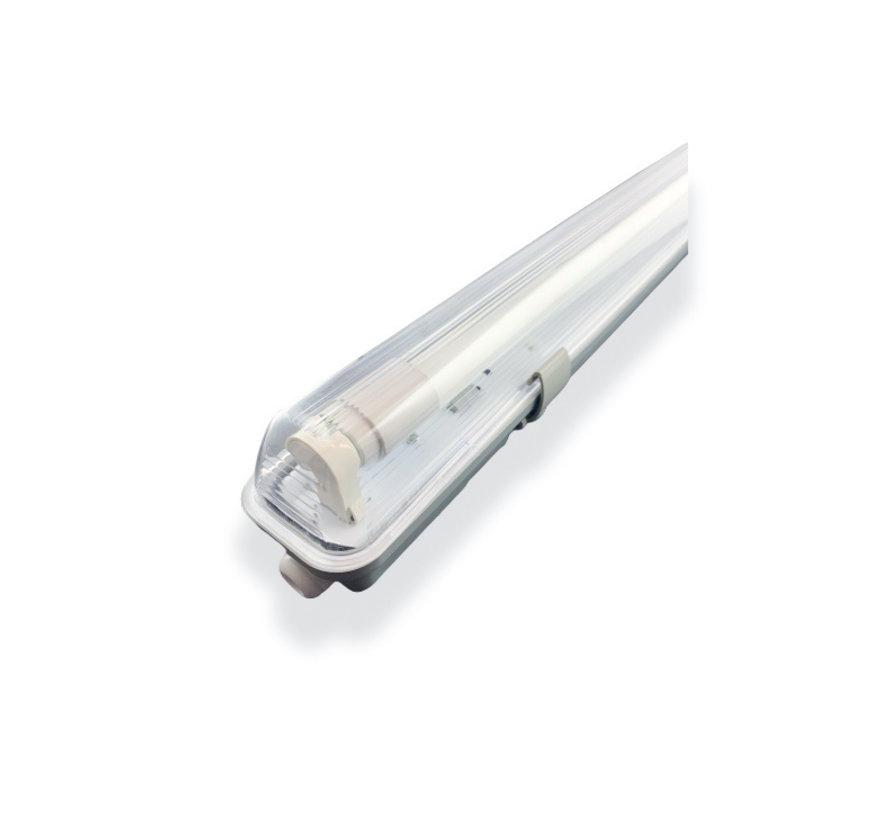 Vandtæt 120cm 18W LED armatur IP65 + 1 LED lysstofrør i 3000K, 4000K eller 6000K