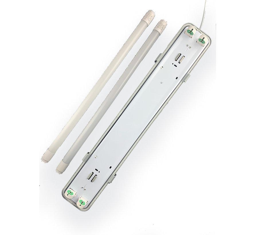 Vandtæt 150cm 48W LED armatur IP65 + 2 LED lysstofrør 3000K - Varmt Hvid - Komplet