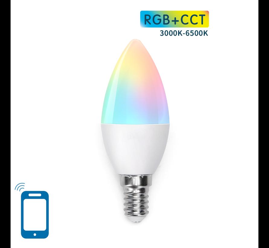 AigoSmart WiFi LED Pære - E14 5W C37 - RGB+CCT alle lysfarver - Betjenes via app