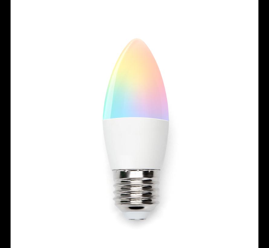 AigoSmart WiFi LED Pære - E27 5W C37 - RGB+CCT alle lysfarver - Betjenes via app