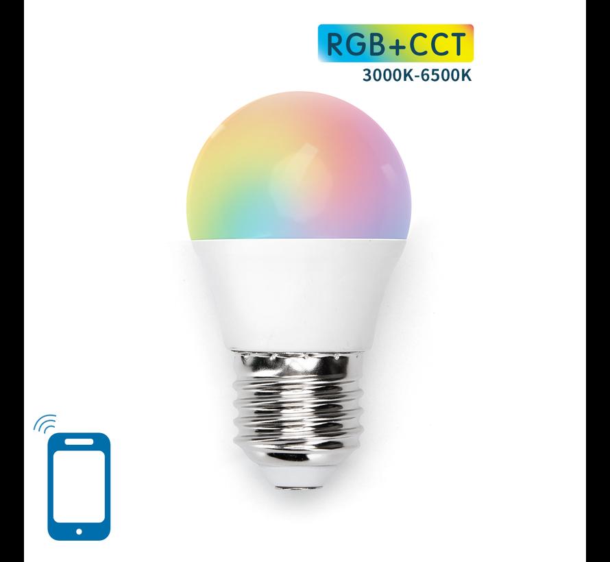 AigoSmart WiFi LED Pære - E27 5W G45 - RGB+CCT alle lysfarver - Betjenes via app