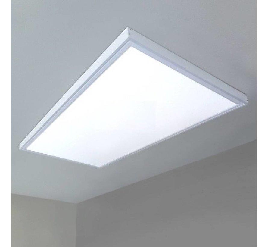 Hvidt rammesystem til montering af LED panel - 5 cm høj inklusiv skruer - 120x60 cm