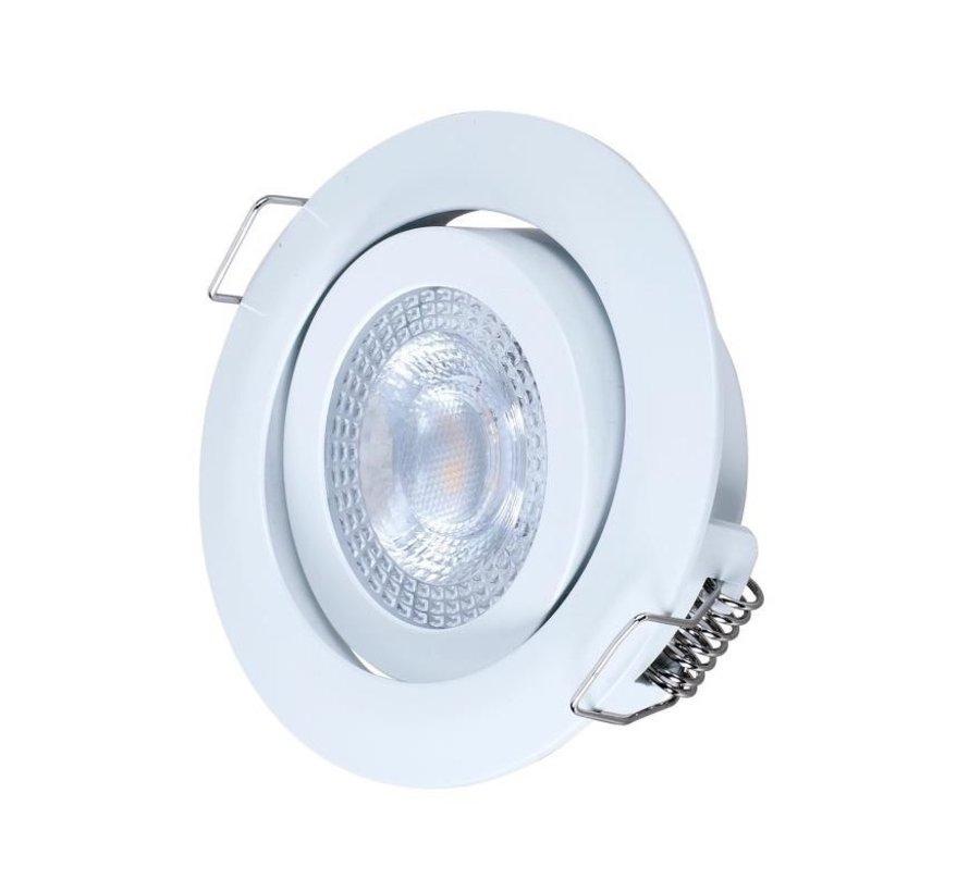 LED Downlight hvid - 3W erstatter 25W - 3000K varmt hvidt lys - Monteringsmål 74mm - Kan vippes