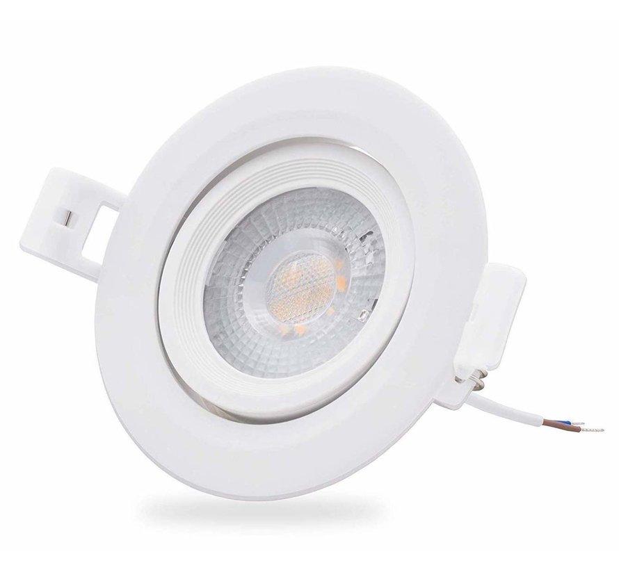 LED Downlight dæmpbar - 5W erstatter 50W - 3000K varmt hvidt lys - Kan vippes