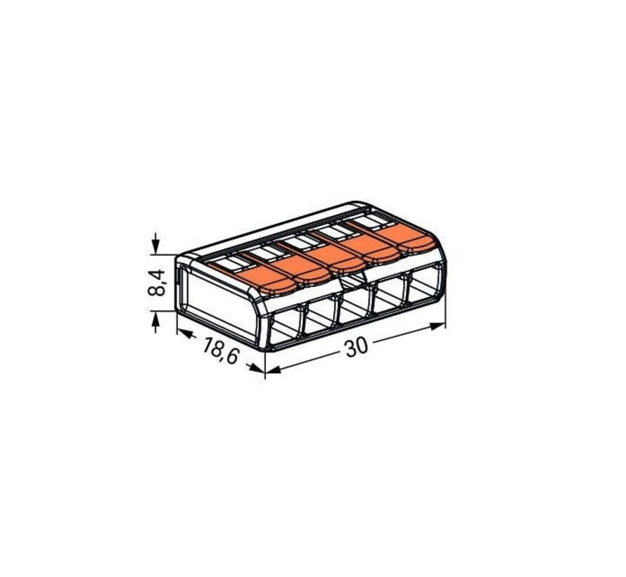 2 stk. WAGO kronmuffe - 0.14-4 mm 5-polet