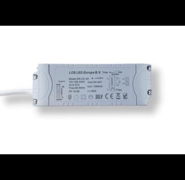 LCB Dæmpbar LED-driver Triac/fasestyring - til 36W/40W LED-paneler 30-42V 1000mA