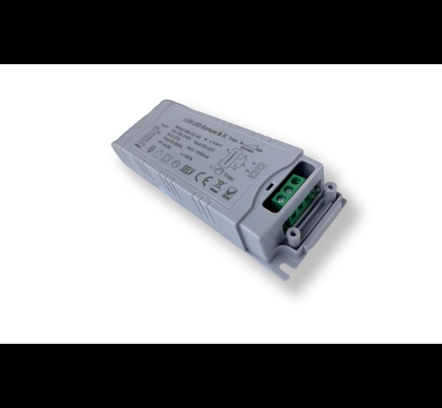 Dæmpbar LED-driver - Triac/fasestyring - til 36W/40W LED-paneler - 30-42V 1000mA