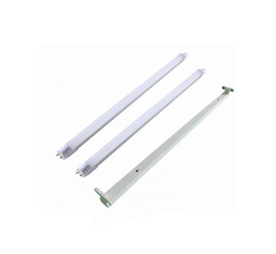 150cm 48W LED armatur + 2 lysstofrør 6000K - Kold Hvid - Komplet
