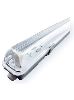 Vandtæt 120cm 18W LED armatur IP65 + 1 LED lysstofrør 6000K - Kold Hvid - Komplet