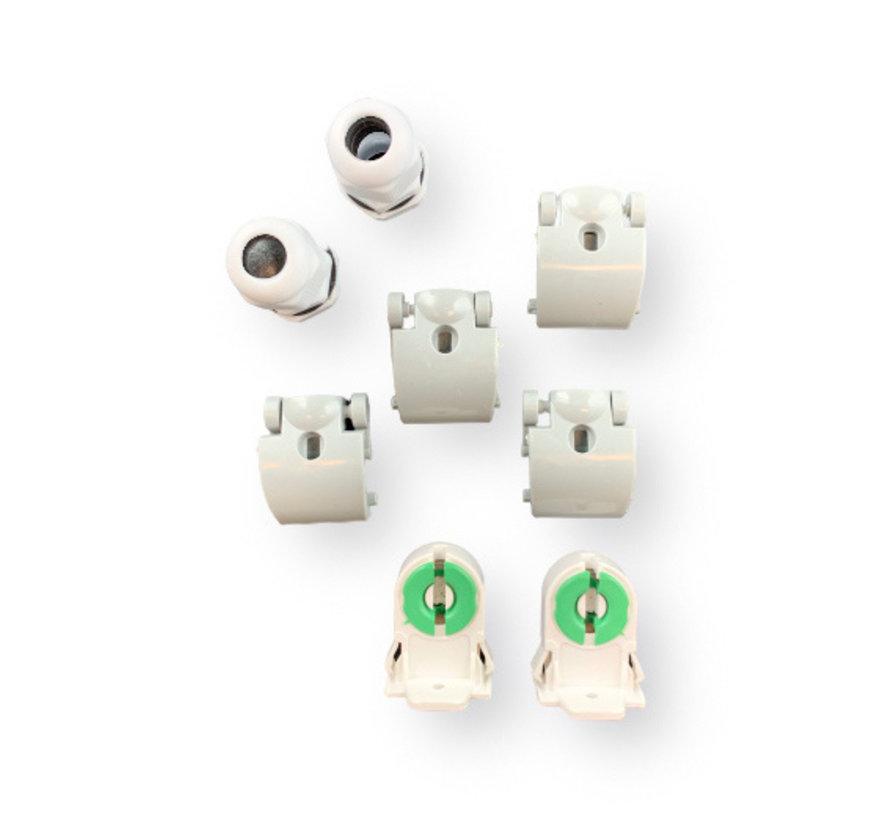 Vandtæt 150cm 48W LED armatur IP65 + 2 LED lysstofrør 4000K - Naturlig Hvid - Komplet