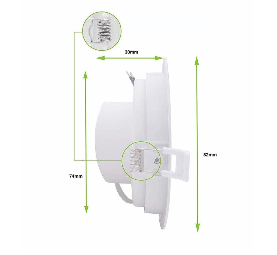LED Downlight sort - 3W erstatter 25W - 3000K varmt hvidt lys - Monteringsmål 74mm - Kan vippes