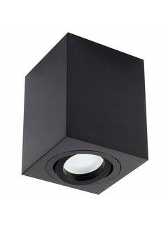LED Påbygningsspot Kubeformet - Sort GU10-fatning - ekskl. LED spot - Justerbar