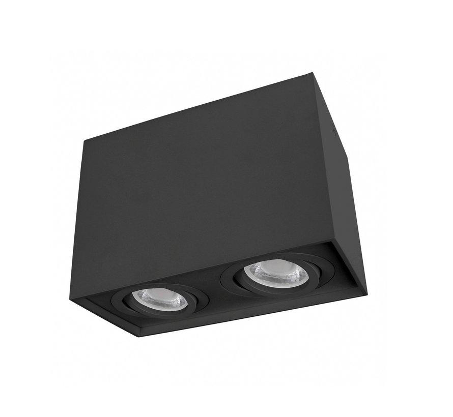 LED Dobbelt Påbygningsspot - Kubeformet - Sort - GU10-fatning - Justerbar