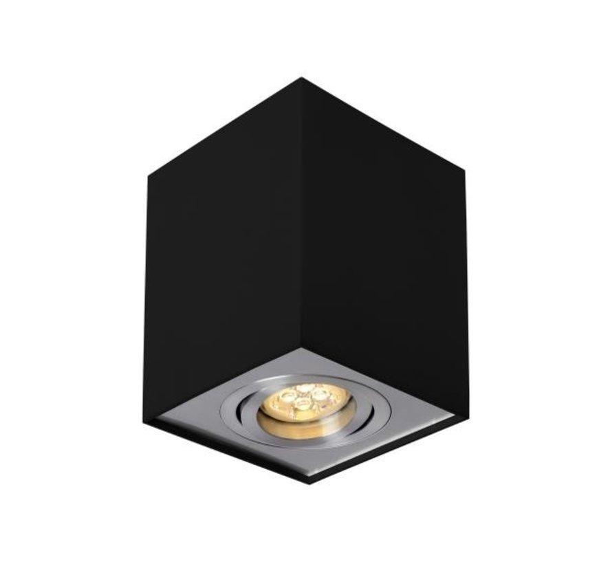 LED Påbygningsspot - Kubeformet - Sort+Sølv - GU10-fatning - ekskl. LED spot - Justerbar