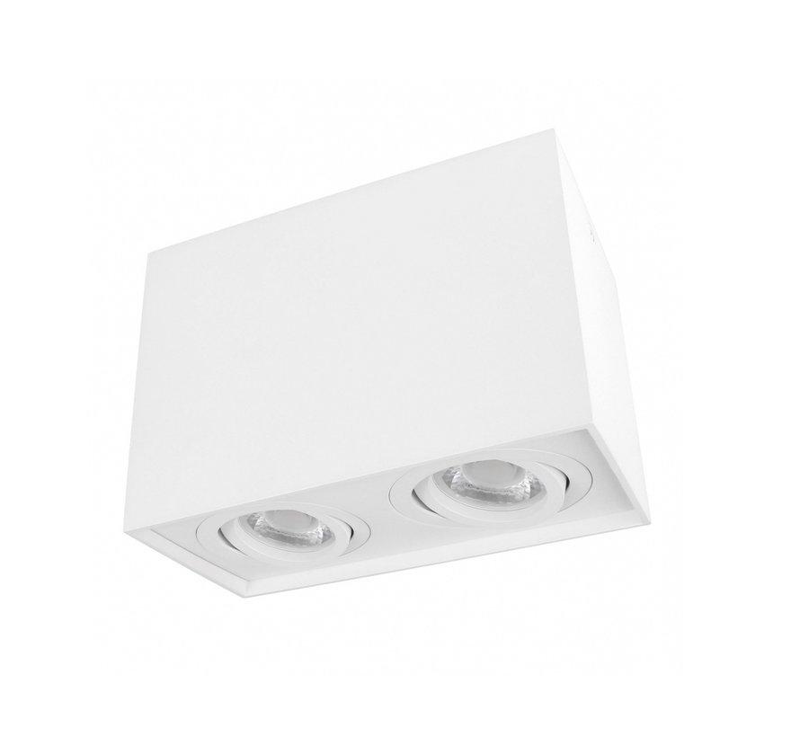 LED Dobbelt Påbygningsspot - Kubeformet - Hvid - GU10-fatning - Justerbar