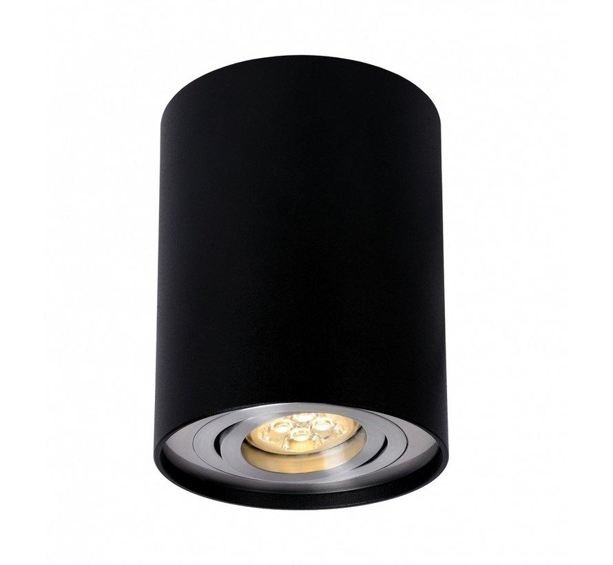 LED Påbygningsspot - Cylinderformet - Sort aluminium - GU10-fatning - ekskl. LED spot - Justerbar