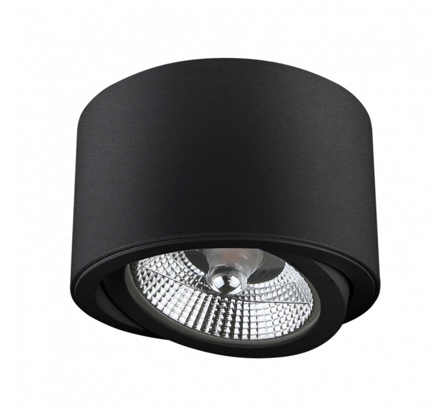 LED Påbygningsspot - AR111 230V - Mat sort - Eksklusiv AR111 LED spot