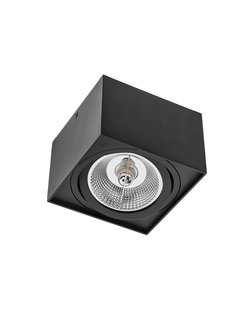 LED Påbygningsspot AR111 230V - Mat sort firkant - Eksklusiv AR111 LED Spot