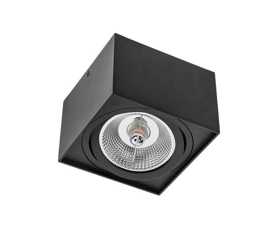 LED Påbygningsspot - AR111 230V - Mat sort firkant - Eksklusiv AR111 LED Spot