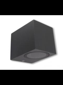 LED Væglampe firkantet i Antracit - GU10-fatning IP44 - Bruger 1 GU10 spot