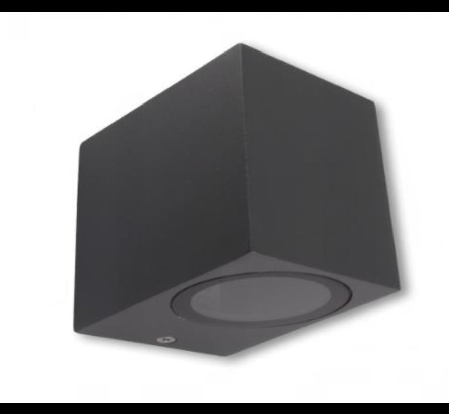 LED Væglampe firkantet i Antracit - GU10-fatning - IP44 - Bruger 1 GU10 spot