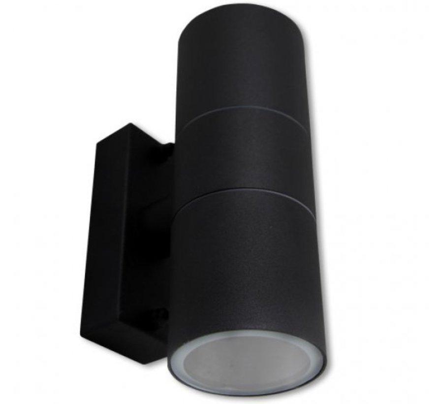 LED Væglampe rund dobbelt - GU10-fatning - IP44 - Passer til 2 GU10 spots - Antracit