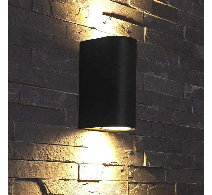 LED Væglampe Halvrund sort - GU10-fatning - IP54 - Passer til 2 GU10-spots