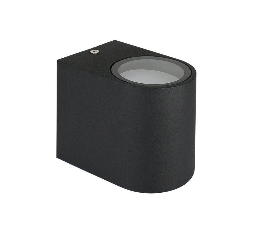 LED Væglampe Halvrund Sort - GU10-fatning - IP44 - Passer til 1 GU10 spot