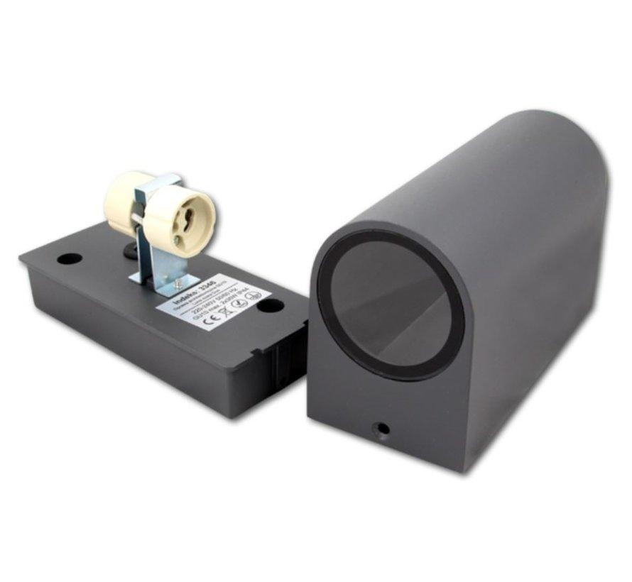 LED Væglampe Halvrund Antracit - GU10-fatning - IP44 - Passer til 1 GU10 spot