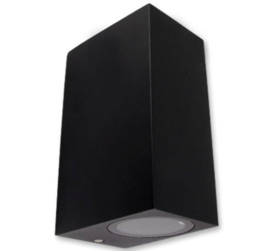 LED Væglampe sort - GU10-fatning - IP44 - Passer til 2 GU10 spots