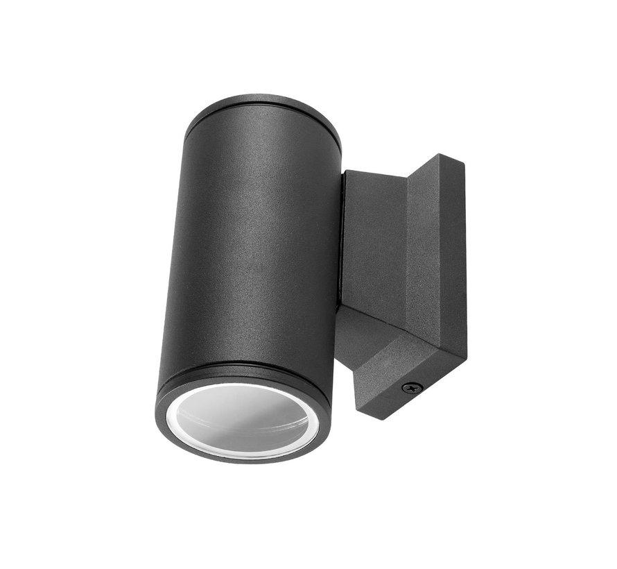 LED Væglampe til 1 spot - Rund Sort - IP65 - GU10-fatning