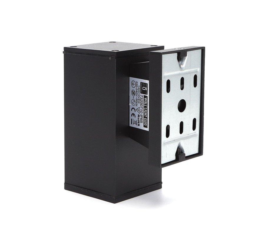 LED Væglampe til 1 spot - Rektangel Sort - IP65 - GU10-fatning