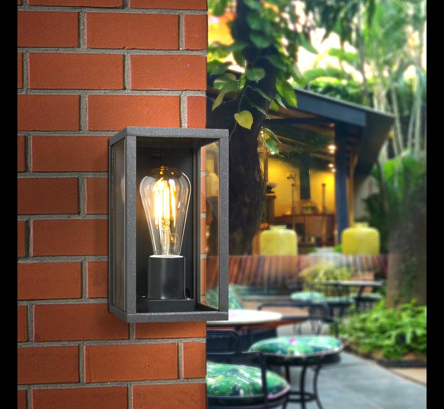 LED industriel Væglampe - Rektangel sort - IP44 - E27-fatning