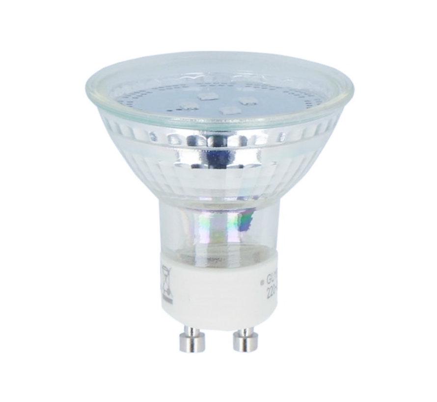LED Spot GU10 - 1W - 6500K koldt hvidt lys - erstatter 10W - I glas
