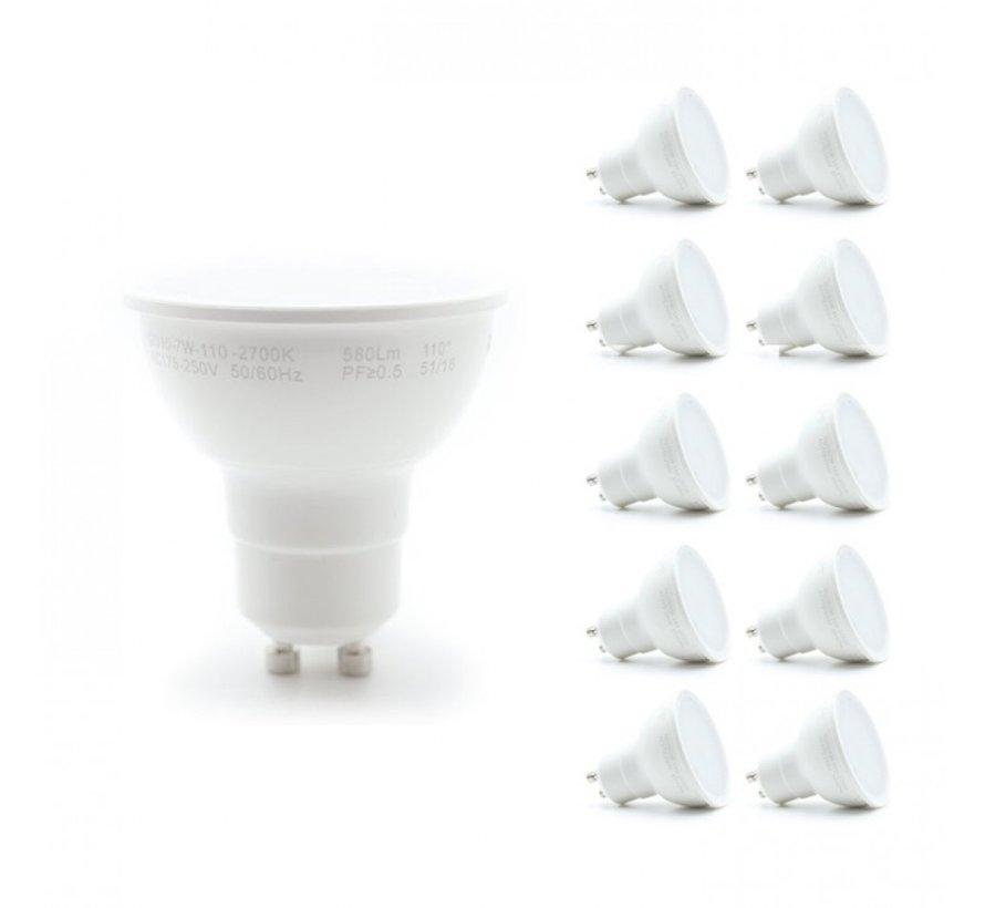 Pakke med 10 stk. - GU10 LED-spots - 6W erstatter 40W - Valgfri lysfarve