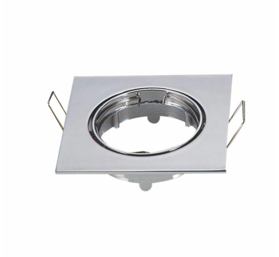 Indbygningsspot Krom firkantet - justerbar - Indvendig mål 74mm - Udvendig diameter 82mm