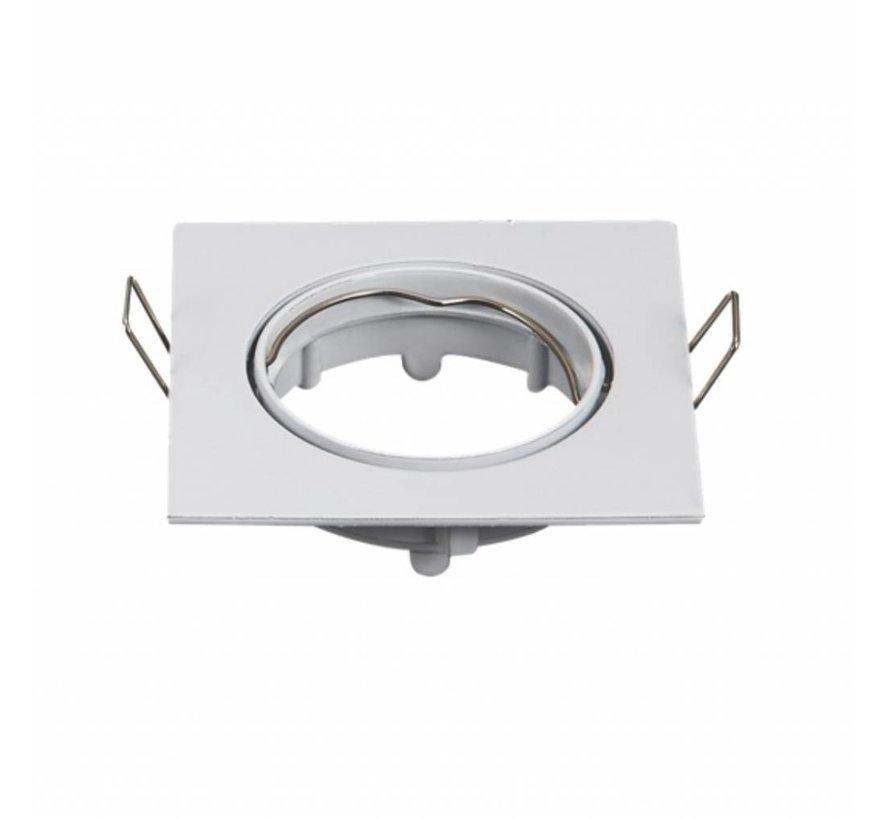 Indbygningsspot Hvid firkantet - justerbar - Indvendig mål 72mm - Udvendig diameter 80mm
