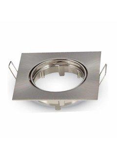 Indbygningsspot firkantet - Børstet stål Justerbar - Indvendig mål 74mm - Udvendig diameter 82mm