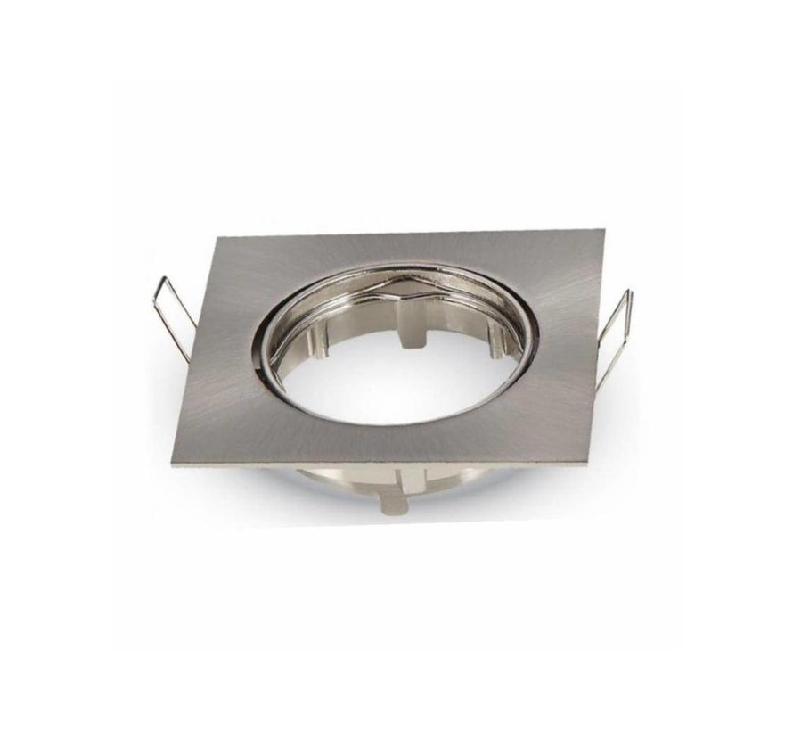 Indbygningsspot firkantet - Børstet stål - Justerbar - Indvendig mål 74mm - Udvendig diameter 82mm